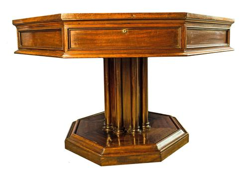 19th Century Mahogany Library Table. Drum or Rent Table (1 of 9)