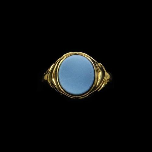 Antique Victorian Blue Sardonyx Signet 18ct 18K Yellow Gold Mourning Ring (1 of 10)