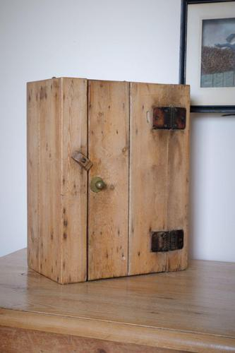 Antique Pine Wall Cupboard with Rare Leather Hinges (1 of 17)