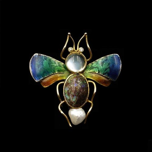 Antique Boulder Opal Moonstone Pearl & Diamond Enamel Insect Bug 15K Gold Brooch Pin (1 of 9)