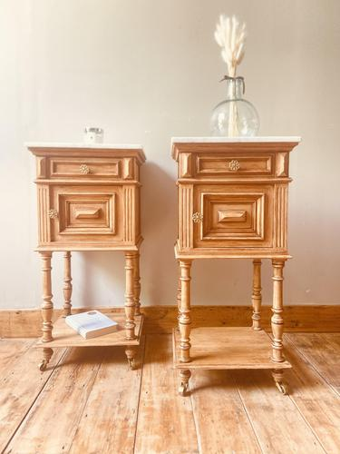 French Antique Oak Bedside Tables / Marble Bedside Cabinets / Nightstands (1 of 6)
