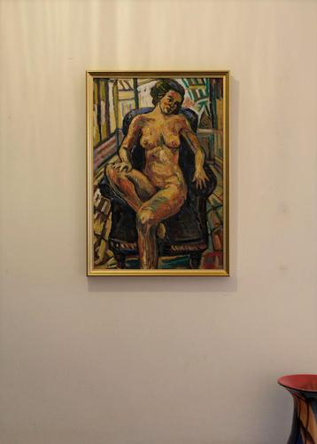 Seated Female Nude Oil on Board by Dino Mazzzoli 1988 (1 of 5)
