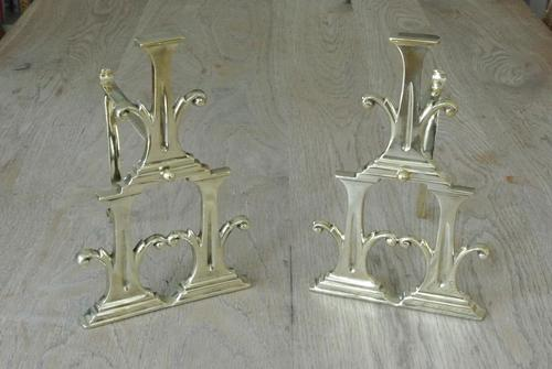 Unusual Pair of Edwardian Brass Fire-dogs Fire Iron Rest Andirons Registered 1905 (1 of 7)