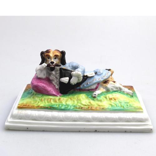 Unusual & Rare Paris Porcelain Novelty Humorous Dog Desk Weight 19th Century (1 of 5)