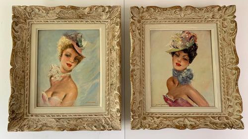 Jules Gustave Lempereur - Pair of Parisian Ladies - Oils on Canvas (1 of 5)