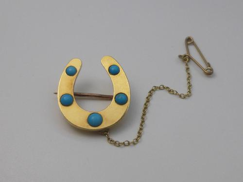 Victorian Gold & Turquoise Brooch (1 of 6)