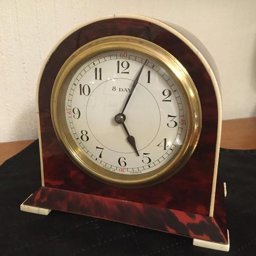 Faux Tortoiseshell Art Deco Mantel Clock (1 of 7)