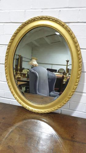 Edwardian Oval Gilt Mirror with Bevelled Glass (1 of 3)