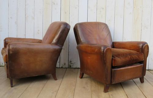 Pair of French Leather Club Chairs (1 of 9)