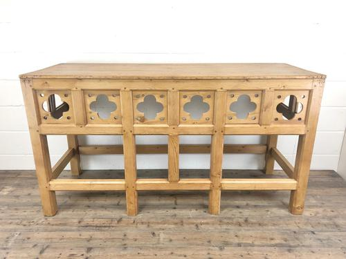 Victorian Pine Church Altar Table in Gothic Design (1 of 14)
