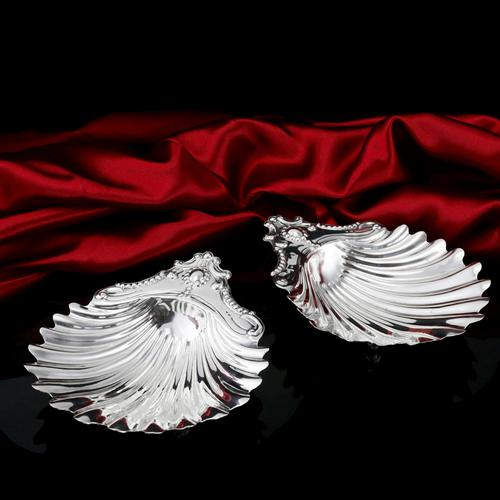 Antique Victorian Solid Silver Pair of Butter Dishes, Shell Design - Josiah Williams & Co 1894 (1 of 13)