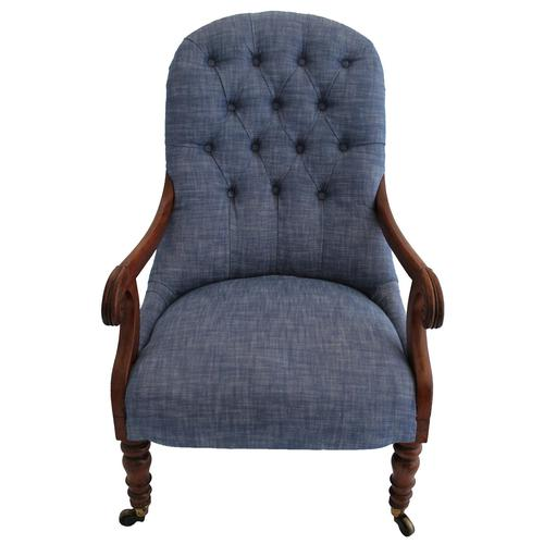 19th Century Buttoned Show Wood Chair (1 of 8)