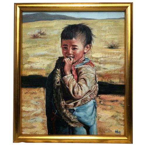"""Chinese Portrait Oil Canvas Painting """"Tribal Young Boy In Gobi Desert"""" Signed Exhibited Yi Ren Gallery (1 of 12)"""