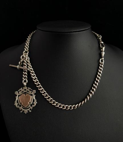Victorian Silver Double Albert Chain, Watch Chain Fob (1 of 11)