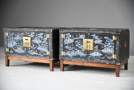 Pair of Small Black Chinese Painted Cabinet (1 of 12)