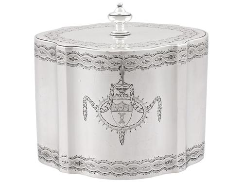 Sterling Silver Locking Tea Caddy - Antique George III 1782 (1 of 12)