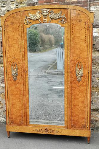 French Art Deco Burr Ash, Marquetry & Gilt Metal Mounted Wardrobe c.1910 (1 of 18)