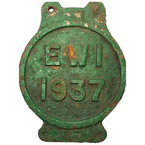 Early 20th Century Reclaimed Cast Iron Green Railway Train Sign Plaque EW1 (1 of 12)