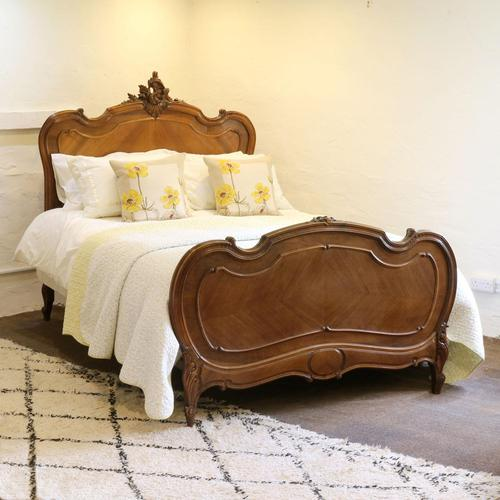 Beaded Louis XV Walnut Antique Bed (1 of 7)