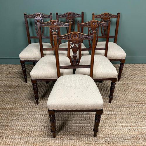 Set of Six Edwardian Walnut Antique Dining Chairs (1 of 8)