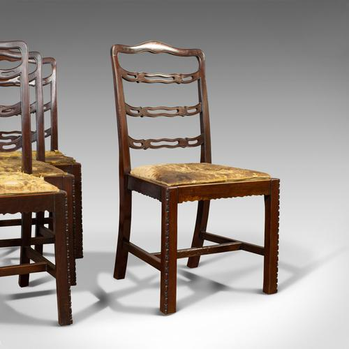 Set of 4, Antique Ladder Back Chairs, Irish, Mahogany, Dining Seat, Victorian (1 of 11)