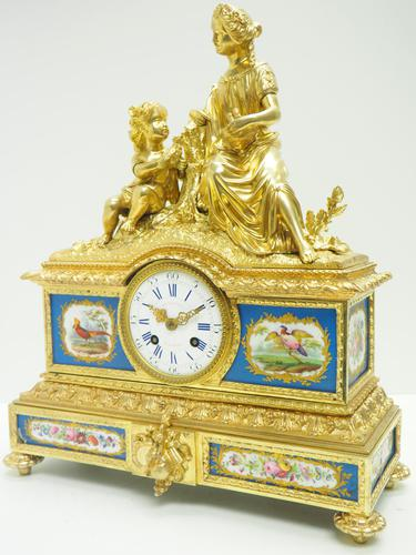 Antique 8 Day Ormolu Mantel Clock Sevres Mother & Child French Mantle Clock (1 of 16)