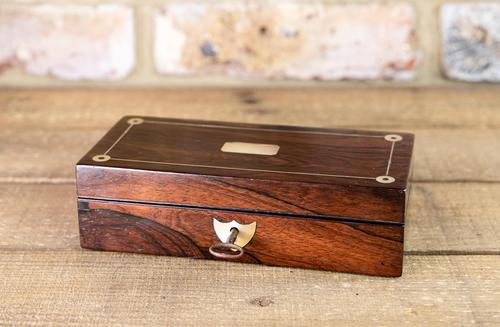 Rosewood & Mother of Pearl Desk Box 1830 (1 of 7)
