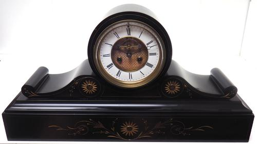 Amazing French Slate Mantel Clock Visible Escapement 8 Day Striking Mantle Clock (1 of 14)
