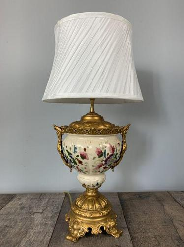 Victorian Gilded Spelter & Ceramic Table Lamp, Rewired & Pat Tested, Shade Included (1 of 10)