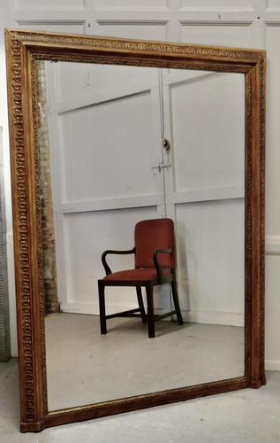 Very Large French Gilt Overmantel or Over Mantle Mirror (1 of 7)