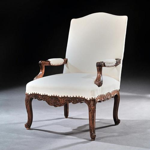 Generous French 19th Century Carved Open Armchair Fauteuil (1 of 7)