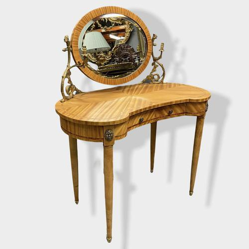 French Bleached Kidney Shaper Dressing Table (1 of 6)