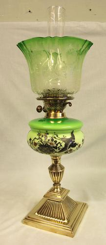 Antique Victorian Green Glass Oil Lamp & Original Frilled Green Shade (1 of 13)