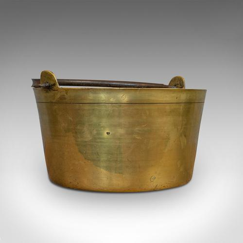 Antique Jam Pan, French, Solid Brass, Artisan Kitchen Pot, Victorian c.1900 (1 of 9)