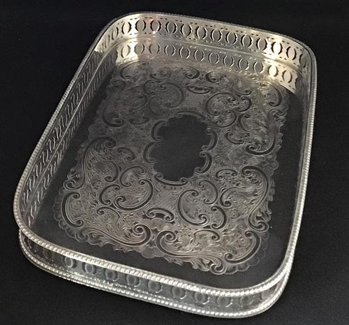 Vintage Silver Plated Oblong  Gallery  Tray (1 of 4)
