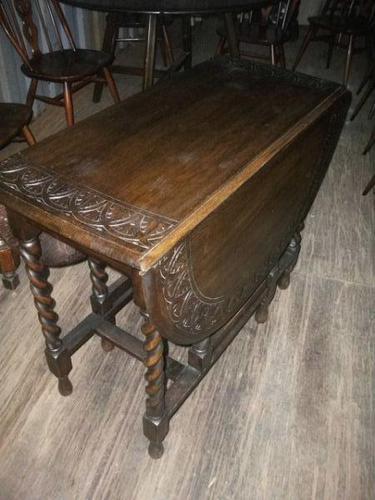 Carved Oak Gateleg Barley Twist Dining Table (1 of 5)