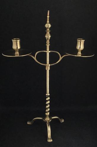 Arts & Crafts Brass Adjustable Two Branch Students Candelabra (1 of 5)