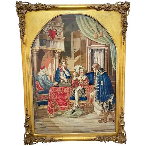 """Large Artwork Gilt Gesso Framed 19th Century Tapestry French Royal Court """"Playing Chess"""" (1 of 44)"""