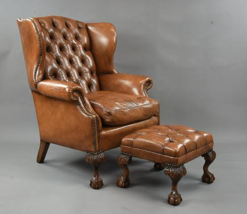 Fine Large Antique Deep Buttoned Leather Wing Chair (1 of 15)