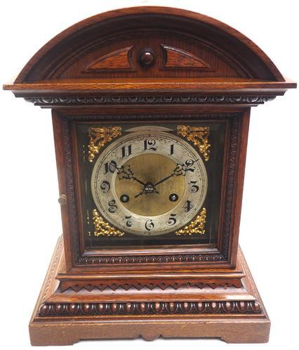 Superb Antique German Oak 8-Day Mantel Clock Quarter Striking Bracket Clock by Junghans (1 of 8)
