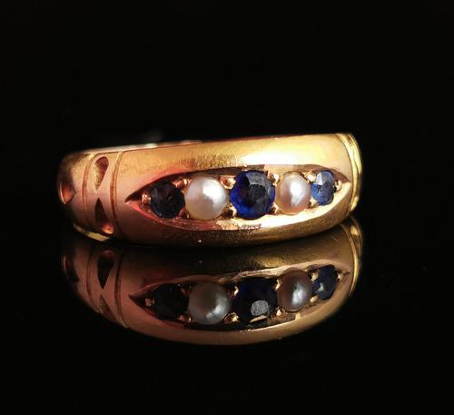 Victorian Sapphire & Pearl Ring, 15ct Gold (1 of 11)
