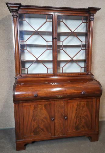 19th Century Figured Mahogany Cylinder Bureau Bookcase (1 of 12)