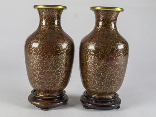 Vintage Pair of Small Cloisonné Vases with Stands (1 of 4)