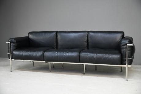 LC3 Style Black Leather & Chrome 3 Seater Sofa (1 of 22)