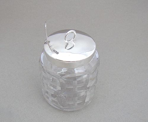 George V Silver Mounted Cut Glass Preserve Jar by Phil Hanson Abbot, Sheffield 1918 (1 of 7)