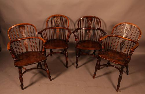 A Set of 4 Yew Tree Windsor Chairs Rockley Workshop (1 of 21)