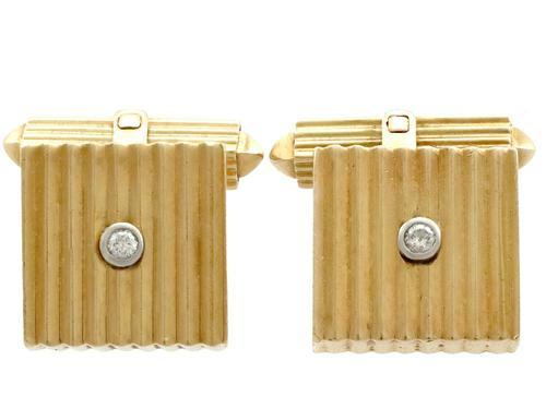 Diamond & 18ct Yellow Gold Cufflinks - Art Deco Style - Vintage German c.1960 (1 of 9)
