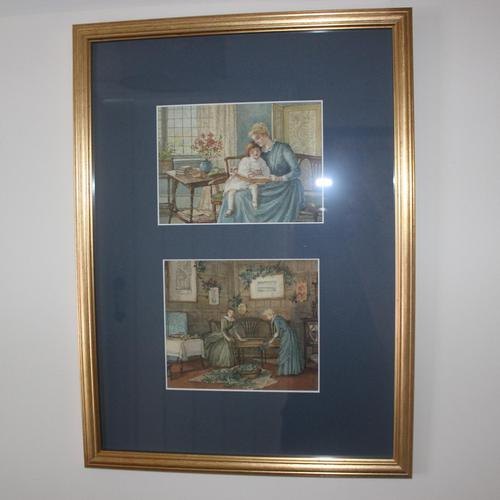 Antique Original Watercolour - Twin Interior Scenes - Mary Sophia Godlee 1860-1932 (1 of 5)