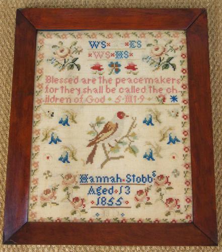 Antique Needlework Sampler Hannah Stobbs 1855 (1 of 4)
