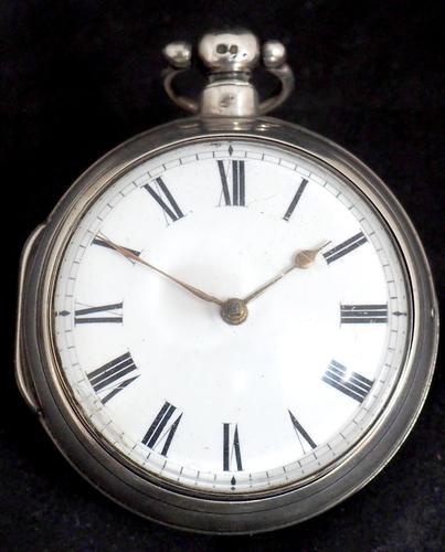 Antique Silver Pair Case Pocket Watch Fusee Verge Escapement Key Wind Enamel Dial Richardson London (1 of 13)